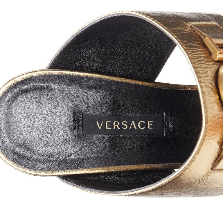 new VERSACE Tribute metallic gold Medusa charm open toe strappy heel mule EU39 For Sale 6