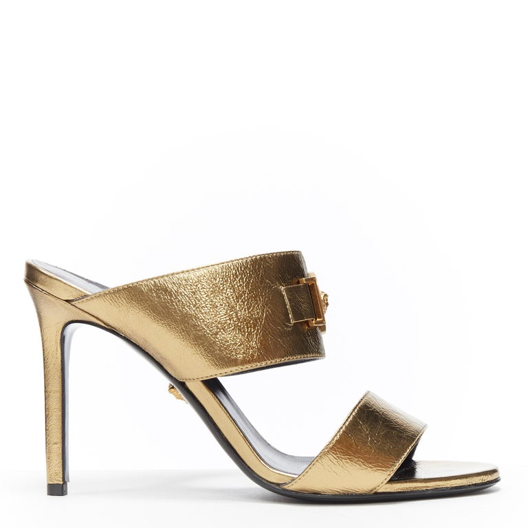 new VERSACE Tribute metallic gold Medusa charm open toe strappy heel mule EU39 In Excellent Condition For Sale In Hong Kong, NT