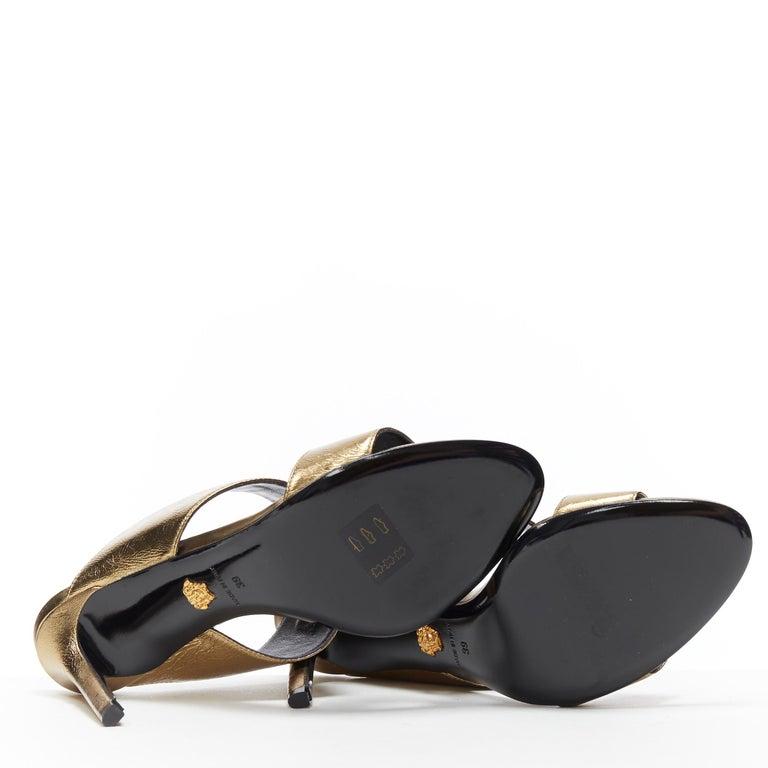 new VERSACE Tribute metallic gold Medusa charm open toe strappy heel mule EU39 For Sale 2