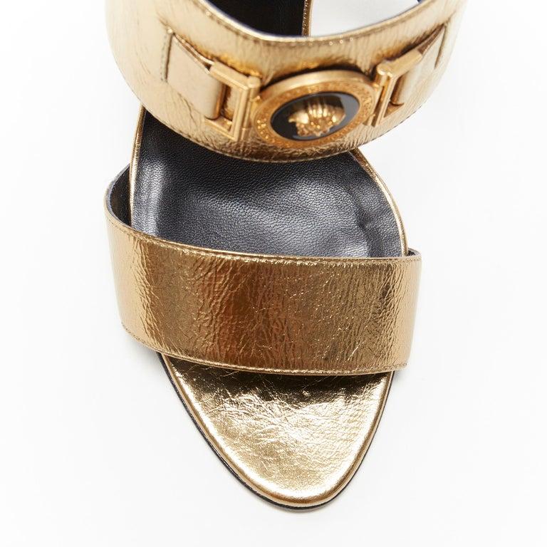 new VERSACE Tribute metallic gold Medusa charm open toe strappy heel mule EU39 For Sale 3
