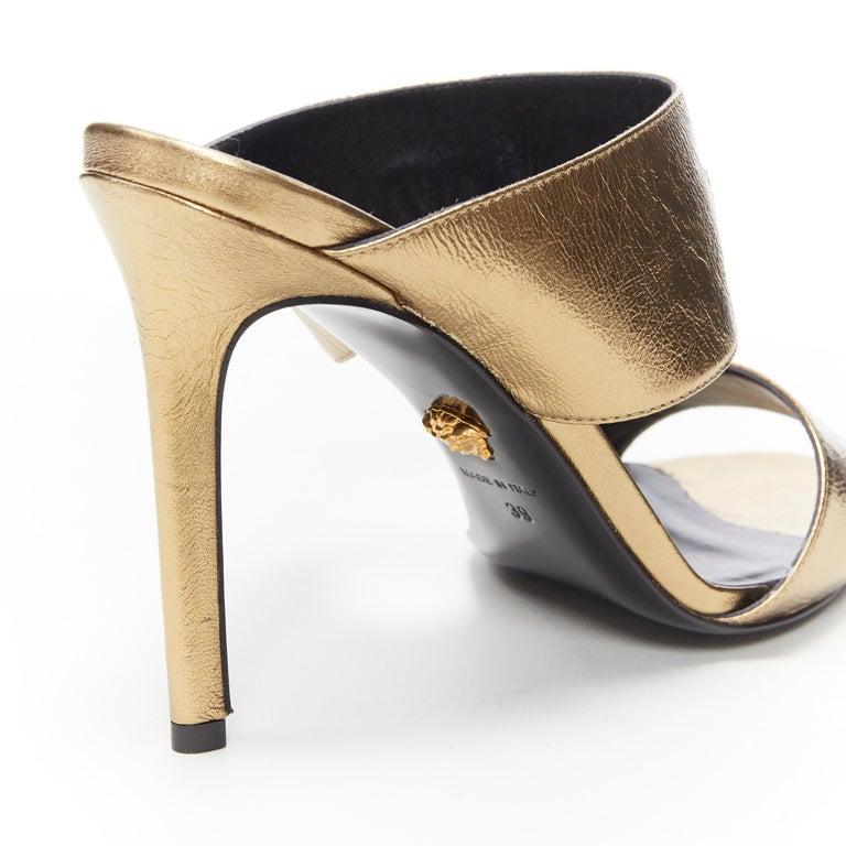 new VERSACE Tribute metallic gold Medusa charm open toe strappy heel mule EU39 For Sale 4