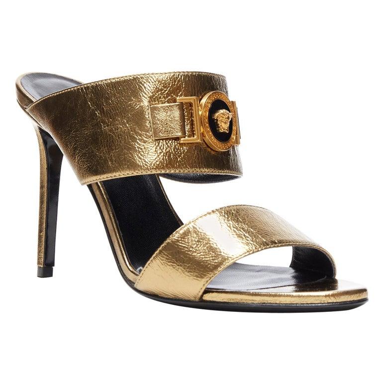 new VERSACE Tribute metallic gold Medusa charm open toe strappy heel mule EU39 For Sale