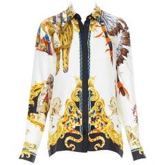 new VERSACE Tribute Native America FW1992 print gold Medusa silk shirt IT40 S