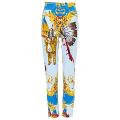 new VERSACE Tribute Native American 1992 printed gold Medusa stud jeans 25""