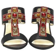 New VERSACE Tribute SS 18  Byzantine Cross red jewel crystal black mule 36 37 38