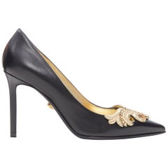 new VERSACE Tribute SS18 black calf leather gold baroque embroidery pump EU37