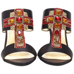 new VERSACE Tribute SS18 byzantine red jewel crystal cross black satin mule EU38