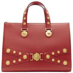 New VERSACE Tribute Tote Medium red Bondage Medusa gold stud shoulder bag