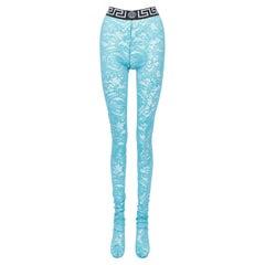 new VERSACE Underwear Medusa Greca waist band blue floral lace legging tights L