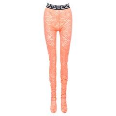 new VERSACE Underwear Medusa Greca waist band blue floral lace legging tights M