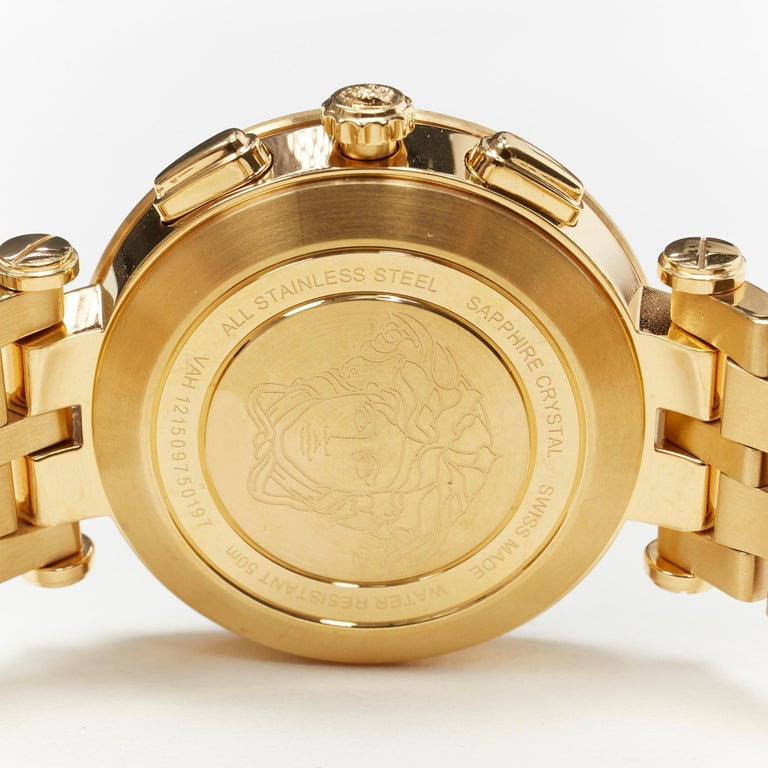 new VERSACE V-Race Sport Gold gold stainless steel quartz analog men's watch For Sale 3