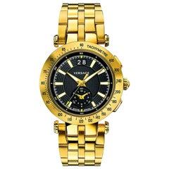 new VERSACE V-Race Sport Gold gold stainless steel quartz analog men's watch