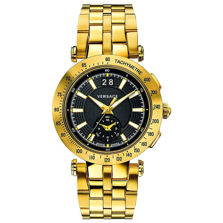 new VERSACE V-Race Sport Gold gold stainless steel quartz analog men's watch For Sale