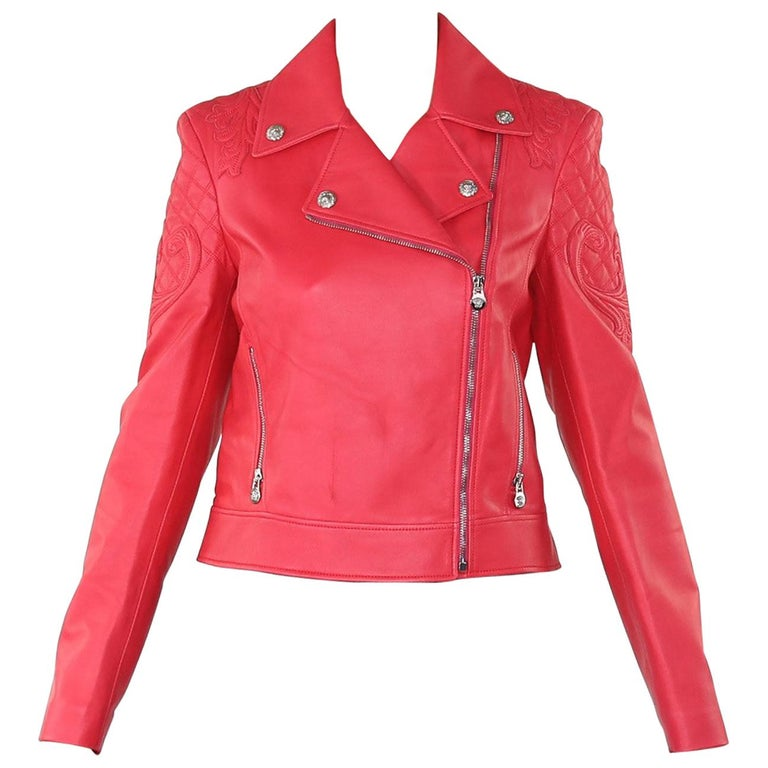 a6a67d4a492 NEW VERSACE VANITAS BAROCCO EMBROIDERED PINK LEATHER MOTO BIKER JACKET Size  42 For Sale