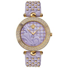 new VERSACE Vanitas gold plated Greca purple studded leather strap ladies watch