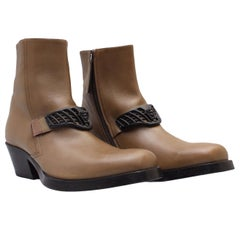New Versace Western Cowboy Leather Boots for Men Size 44 - 11