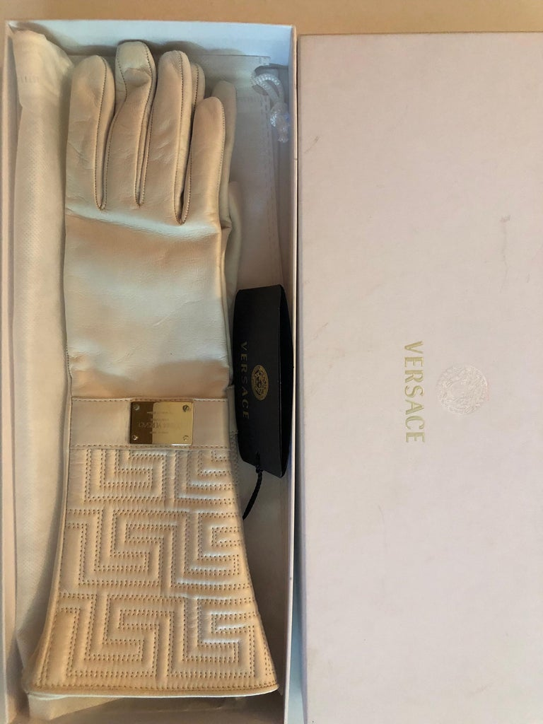 Gray New Versace White Leather Gloves For Sale
