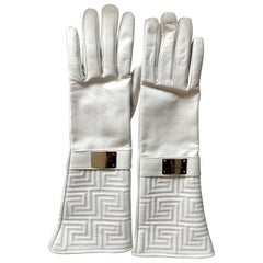 New Versace White Leather Gloves