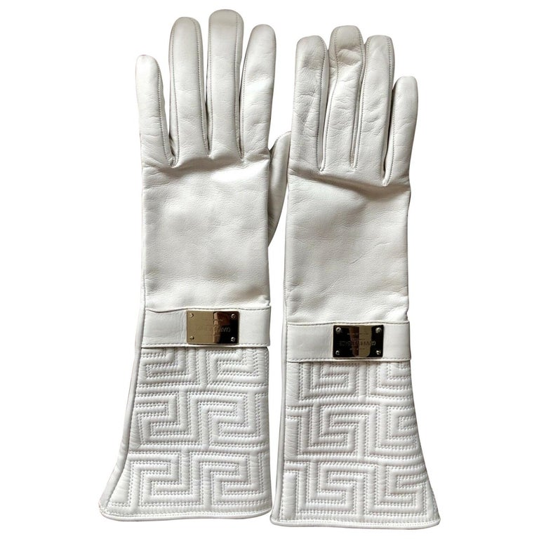 New Versace White Leather Gloves For Sale