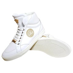 NEW VERSACE WHITE LEATHER SNEAKERS w/EMBROIDERED GOLD MEDUSA 39.5 - 6.5