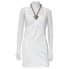 New VERSACE WHITE MEDUSA CHAIN DRESS 42 - 6