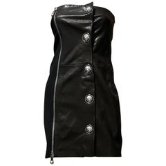 NEW VERSUS VERSACE + ANTHONY VACCARELLO EMBELLISHED LEATHER Dress 38 - 2