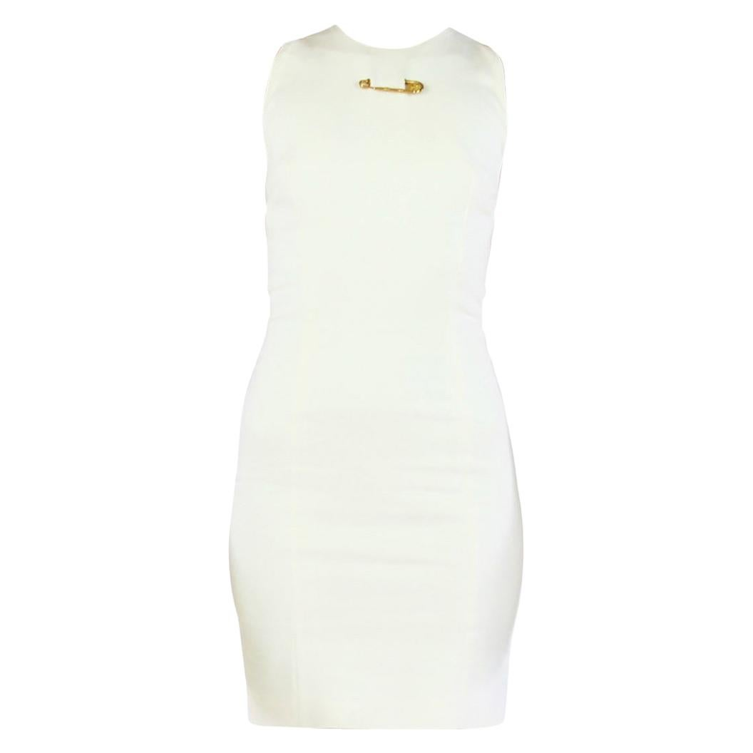 New VERSUS VERSACE White Cut out mini dress with gold safety pins