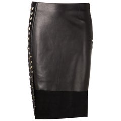 New VERSUS VERSACE X Anthony Vaccarello High-Low Leather Cut Out Panel Skirt