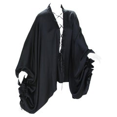 New Very Rare Tom Ford for Gucci F/W 2002 Silk Black Lace-Up Kimono Top It. 40