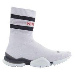 new VETEMENTS REEBOK Sock Runner grey sock knit speed trainer sneakers EU37.5