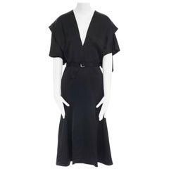 new VICTORIA BECKHAM 2017 black pinched kimono sleeve belted midi dress UK10 M