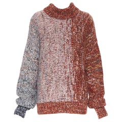 new VICTORIA BECKHAM PF18 Runway red grey gradient wool blend sweater Sz3 L