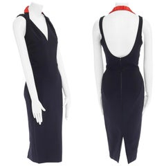 new VICTORIA BECKHAM SS17 navy elasticated red halter fitted sheath dress UK8 M