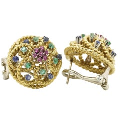 Blue Sapphire, Emeralds 18 Karat Yellow Gold Stud Earrings