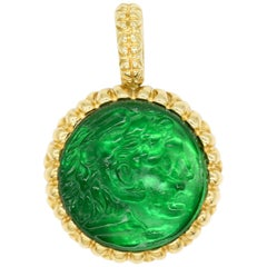 New Victorian Green Italian Murano Glass Carved Intaglio Pendant 18 Karat Gold