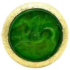 New Victorian Green Italian Murano Glass Carved Intaglio Ring 18 Karat Gold