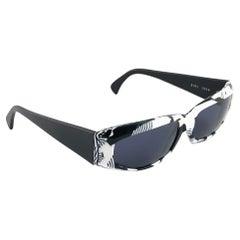 New Vintage Alain Mikli 2101 Black & White France Sunglasses 1980's