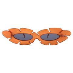 New Vintage Alain Mikli AM 85 Ultra Wide Tangerine France Sunglasses 1980's