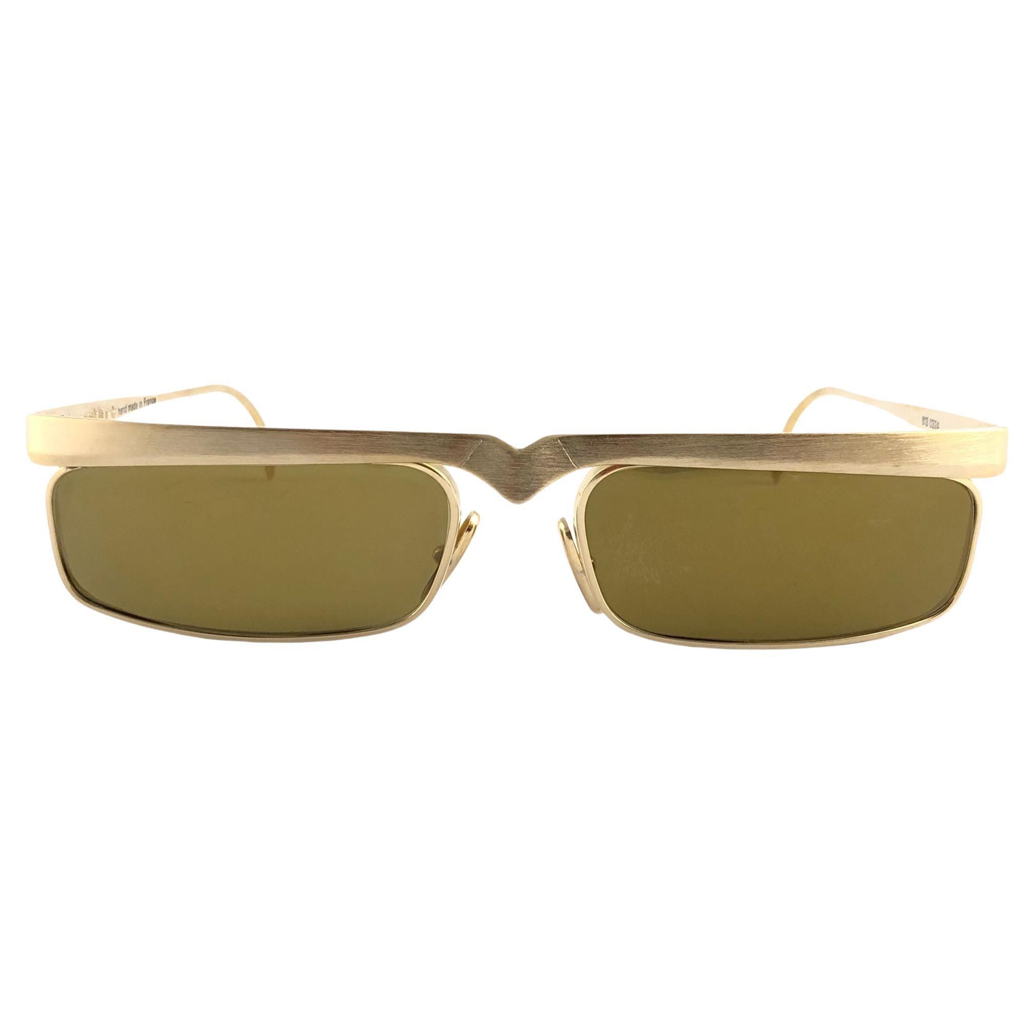 New Vintage Alain Mikli Matte Brushed Gold 613 Made in France Sunglasses 1980's