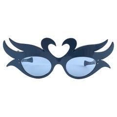 New Vintage Alain Mikli Blue Swans Prototype France Sunglasses 1980's