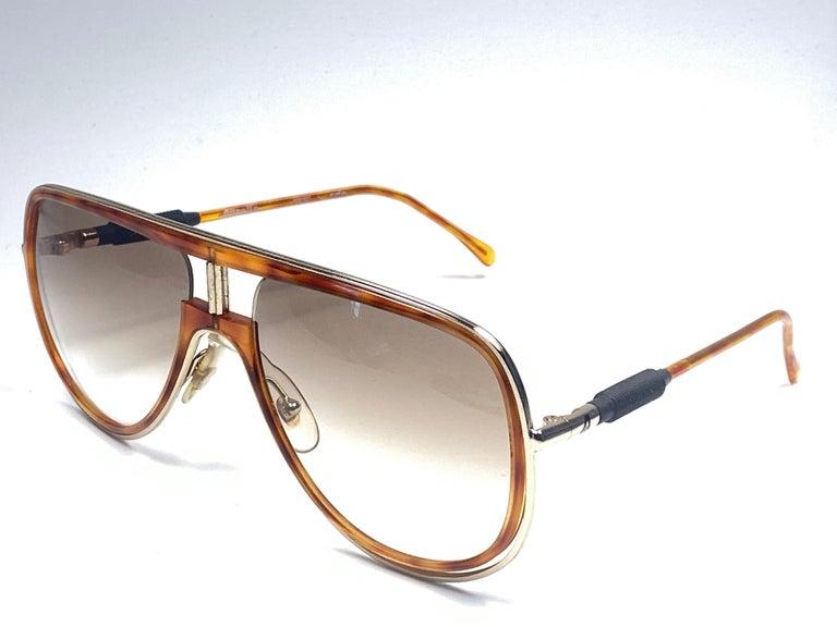 Brown New Vintage Alitalia Oversized Tortoise & Gold 1990  Italy Sunglasses For Sale