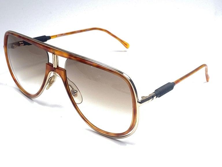 Women's or Men's New Vintage Alitalia Oversized Tortoise & Gold 1990  Italy Sunglasses For Sale