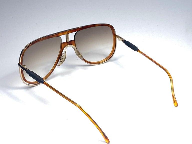New Vintage Alitalia Oversized Tortoise & Gold 1990  Italy Sunglasses For Sale 1