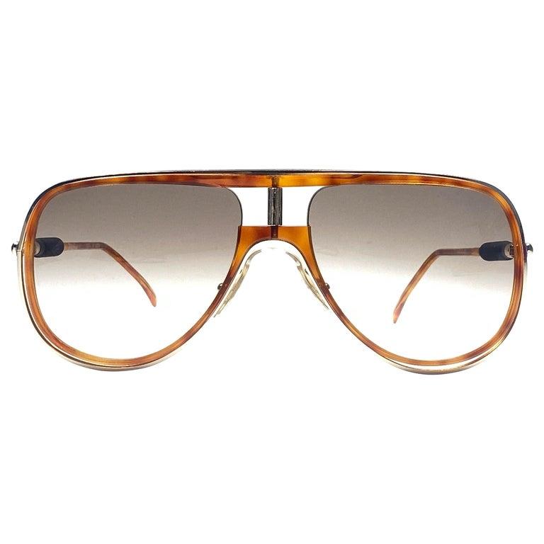 New Vintage Alitalia Oversized Tortoise & Gold 1990  Italy Sunglasses For Sale
