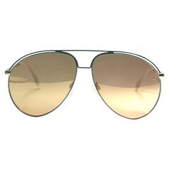 New Vintage Alpina Aviator Gold & Green Gold Mirror Sunglasses