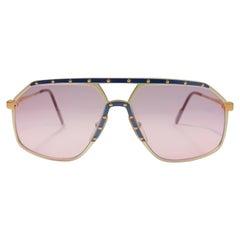 New Vintage Alpina M6 Aviator Gold & Blue Screws Sunglasses 1980'S