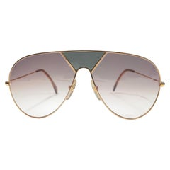New Vintage Alpina TR3 Aviator Gold & Green Sunglasses 1980'S