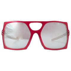 New Vintage Anglo American Mod 101 Red Oversized Mask Sunglasses 1980