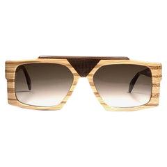 New Vintage Anglo American Optical Wood Mask Sunglasses 1980
