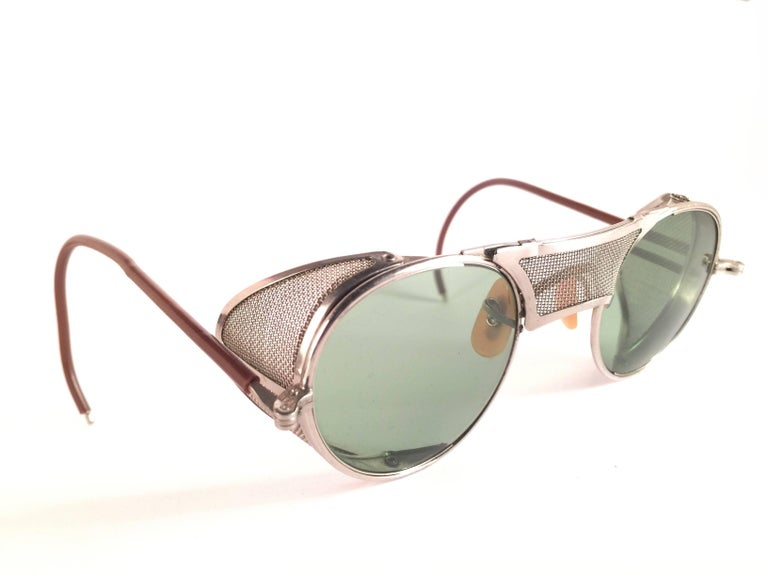 Beige New Vintage Bausch & Lomb Goggles Steampunk 1950's Collectors Item Sunglasses  For Sale